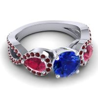 Three Stone Pave Varsa Blue Sapphire Ring with Ruby and Garnet in Platinum