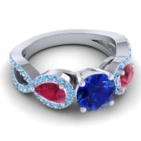 Three Stone Pave Varsa Blue Sapphire Ring with Ruby and Swiss Blue Topaz in Platinum