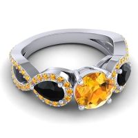 Three Stone Pave Varsa Citrine Ring with Black Onyx in 18k White Gold