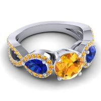 Three Stone Pave Varsa Citrine Ring with Blue Sapphire in 18k White Gold