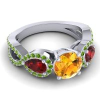 Three Stone Pave Varsa Citrine Ring with Garnet and Peridot in 18k White Gold