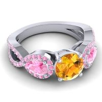 Citrine Three Stone Pave Varsa Ring with Pink Tourmaline in 14k White Gold