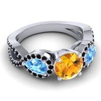 Three Stone Pave Varsa Citrine Ring with Swiss Blue Topaz and Black Onyx in 14k White Gold