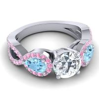 Three Stone Pave Varsa Diamond Ring with Aquamarine and Pink Tourmaline in 18k White Gold