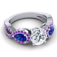 Three Stone Pave Varsa Diamond Ring with Blue Sapphire and Amethyst in 14k White Gold