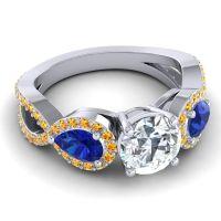 Three Stone Pave Varsa Diamond Ring with Blue Sapphire and Citrine in Palladium