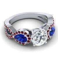 Three Stone Pave Varsa Diamond Ring with Blue Sapphire and Garnet in Platinum