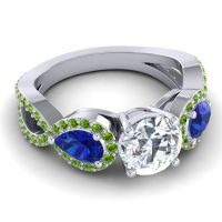 Three Stone Pave Varsa Diamond Ring with Blue Sapphire and Peridot in Platinum
