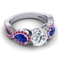 Three Stone Pave Varsa Diamond Ring with Blue Sapphire and Ruby in Palladium