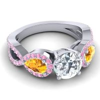 Three Stone Pave Varsa Diamond Ring with Citrine and Pink Tourmaline in Palladium