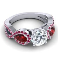 Three Stone Pave Varsa Diamond Ring with Garnet and Ruby in 18k White Gold