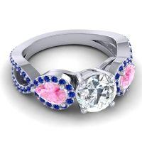 Three Stone Pave Varsa Diamond Ring with Pink Tourmaline and Blue Sapphire in Platinum