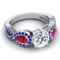 Three Stone Pave Varsa Diamond Ring with Ruby and Blue Sapphire in 14k White Gold