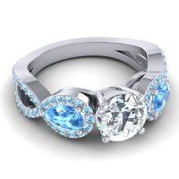Three Stone Pave Varsa Diamond Ring with Swiss Blue Topaz and Aquamarine in Palladium