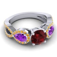 Three Stone Pave Varsa Garnet Ring with Amethyst and Citrine in 18k White Gold