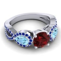 Three Stone Pave Varsa Garnet Ring with Aquamarine and Blue Sapphire in 14k White Gold