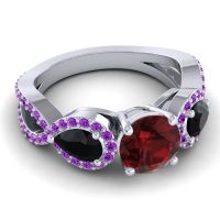 Three Stone Pave Varsa Garnet Ring with Black Onyx and Amethyst in Platinum