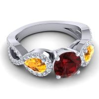 Three Stone Pave Varsa Garnet Ring with Citrine and Diamond in 18k White Gold