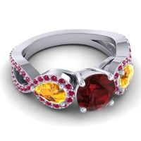 Three Stone Pave Varsa Garnet Ring with Citrine and Ruby in Palladium