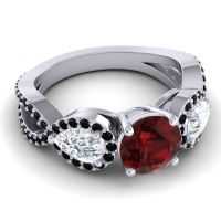 Three Stone Pave Varsa Garnet Ring with Diamond and Black Onyx in 18k White Gold