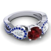 Garnet Three Stone Pave Varsa Ring with Diamond and Blue Sapphire in Platinum