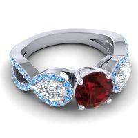 Three Stone Pave Varsa Garnet Ring with Diamond and Swiss Blue Topaz in 18k White Gold