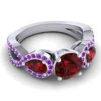 Three Stone Pave Varsa Garnet Ring with Amethyst in Platinum