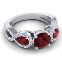 Three Stone Pave Varsa Garnet Ring with Diamond in 18k White Gold
