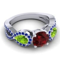 Three Stone Pave Varsa Garnet Ring with Peridot and Blue Sapphire in Platinum