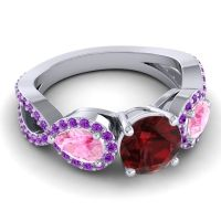 Three Stone Pave Varsa Garnet Ring with Pink Tourmaline and Amethyst in 14k White Gold