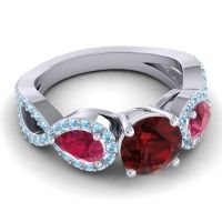 Three Stone Pave Varsa Garnet Ring with Ruby and Aquamarine in 18k White Gold