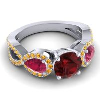 Three Stone Pave Varsa Garnet Ring with Ruby and Citrine in 18k White Gold