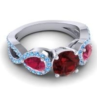 Three Stone Pave Varsa Garnet Ring with Ruby and Swiss Blue Topaz in 18k White Gold