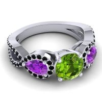 Three Stone Pave Varsa Peridot Ring with Amethyst and Black Onyx in 14k White Gold