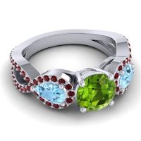 Three Stone Pave Varsa Peridot Ring with Aquamarine and Garnet in Palladium