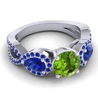 Three Stone Pave Varsa Peridot Ring with Blue Sapphire in Platinum