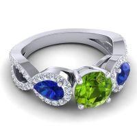 Three Stone Pave Varsa Peridot Ring with Blue Sapphire and Diamond in Palladium
