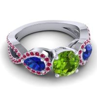 Three Stone Pave Varsa Peridot Ring with Blue Sapphire and Ruby in Palladium