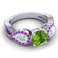 Three Stone Pave Varsa Peridot Ring with Diamond and Amethyst in 14k White Gold
