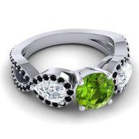 Three Stone Pave Varsa Peridot Ring with Diamond and Black Onyx in Platinum