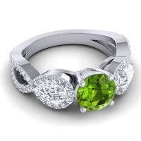 Three Stone Pave Varsa Peridot Ring with Diamond in 18k White Gold