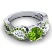 Three Stone Pave Varsa Peridot Ring with Diamond in Platinum