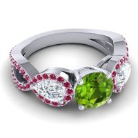 Three Stone Pave Varsa Peridot Ring with Diamond and Ruby in Platinum