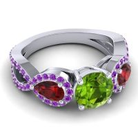 Three Stone Pave Varsa Peridot Ring with Garnet and Amethyst in 18k White Gold
