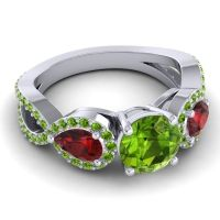 Three Stone Pave Varsa Peridot Ring with Garnet in 14k White Gold