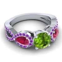 Three Stone Pave Varsa Peridot Ring with Ruby and Amethyst in 14k White Gold