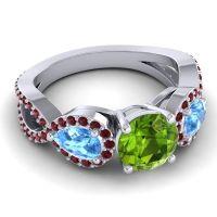 Three Stone Pave Varsa Peridot Ring with Swiss Blue Topaz and Garnet in Platinum