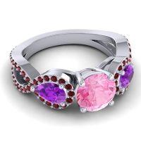 Three Stone Pave Varsa Pink Tourmaline Ring with Amethyst and Garnet in Platinum