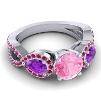 Three Stone Pave Varsa Pink Tourmaline Ring with Amethyst and Ruby in 18k White Gold