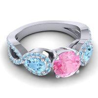 Three Stone Pave Varsa Pink Tourmaline Ring with Aquamarine in 18k White Gold